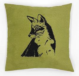 Kissenhülle: Schwarzer Fuchs auf grünem Stoff, Rückseite: Florales Muster, Alcantara Imitat (hochwertiges Velourslederimitat)