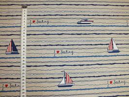 Dekostoff mit Segelschiff