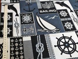 Dekostoff mit Steuerrad, Knoten, Segelschiff und Anker