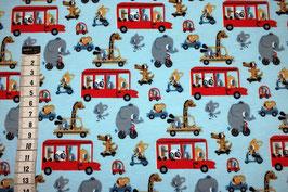 Jersey-Kinderstoff mit Elefanten, Mäuse, Giraffe und Bus