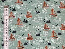 Jersey-Kinderstoff mit Segelschiffen