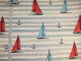 Dekostoff mit Segelschiffen und Anker