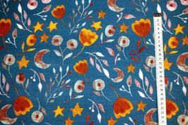 Jerseystoff mit Blumen in herblichen Farben
