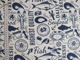 Dekodruck mit Fischen und Schrift