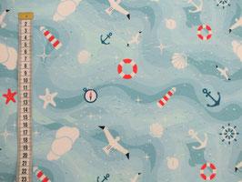 Jerseystoff mit Seevogel, Seestern, und Rettungsring