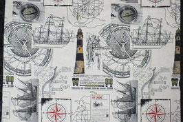 Dekostoff mit  Segelschiff, Leuchtturm und Kompass