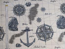 Dekostoff mit Schiffen und Ankern