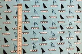 Jerseystoff mit Segelschiffen
