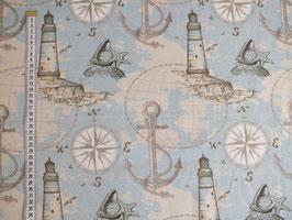 Dekodruck mit Leuchtturm, Anker und Kompass
