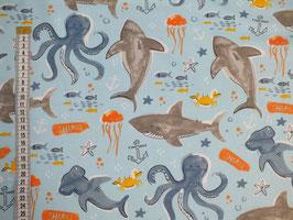Jersey-Kinderstoff mit Fischen, Quallen und Kraken