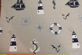 Dekodruck mit Leuchtturm, Anker, Möwe, Segelschiff und Rettungsring