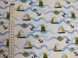 Jerseystoff mit Segelboot, Anker und Wellen