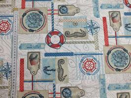 Dekodruck mit Seepferd, Kompass  und Muschel