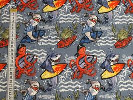 Jerseystoff mit Surfern und Haien