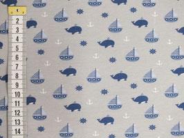 Jerseystoff mit Walen