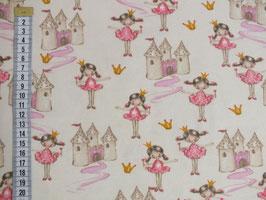 Jerseystoff mit tanzenden Prinzessin und Schloss