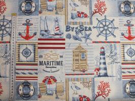 Dekodruck mit Leuchturm, Anker, Segelschiff und Rettungsring