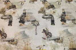 Dekostoff mit Kompass, Segelschiff, Laterne und Möwe