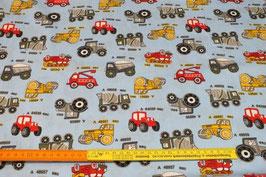 Kinderstoff mit Müllwagen, Feuerwehrauto, Bagger und Lastwagen