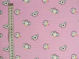 Jerseystoff mit rosa Streifen und Teddyköpfe
