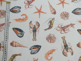 Dekostoff mit Meeresbewohnern