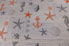 Dekostoff mit Seestern, Anker, Muschel und Seepferdchen