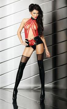 LOLITTA SENSUAL MISTRESS Sexy Set Stringivita in Ecopelle e PVC Nero con Stringatura Rossa al Collo + Perizoma Calze e Reggicalze