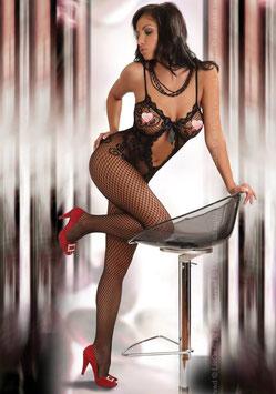 LivCo Corsetti Fashion MAGALI Catsuit BodyStocking a Rete Scollato a Oblò con Fiocco e Decorazione Floreale