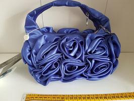 SUNSHINE Borsa a Mano Morbida Blu con Boccioli di Rose + Catena Argento per Tracolla |SN8017|