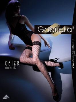 GABRIELLA Calze Autoreggenti Nere a Rete Larga con Balza Siliconata in Pizzo Floreale |GA-153|