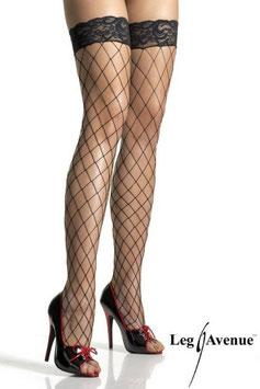 LEG AVENUE Calze Autoreggenti / Reggicalze in Rete Maglia Larga con Balza in Pizzo Floreale |LA-9037|