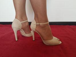 VIA STUDIO Sandali BEIGE con Cinturino alla Caviglia in Vera Pelle Scamosciata Tacco Alto 10 cm |VS-2163|