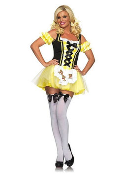 Sexy Costume Lil' Miss Goldi locks Sexy Costume Leg Avenue Vestito Corsetto Tutu Giallo e Nero |LA-83636|