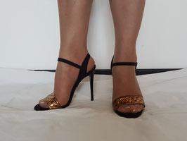 VIA STUDIO Sandali Neri e Bronzo con Cinturino alla Caviglia in Vera Pelle Scamosciata Tacco Alto 11 cm |VS-511|