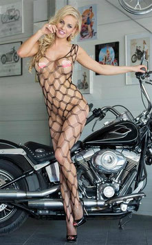SOFTLINE SHE CAT BodyStocking Tuta a Rete Diamante Romboidale Trama a Maglia Larga |SF-6254|
