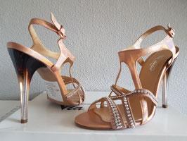 VIA STUDIO Sandali Gioiello Laminati Rosa con Cinturino alla Caviglia Tacco Alto 11 cm Trasparente e Nero |VS-4602|