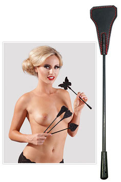 BAD KITTY Classic Mini Crop Spanker Sculacciatore Nero e Rosso 25 cm |2490994|