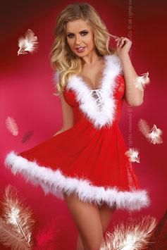 LivCo Corsetti Fashion Snowflake Abito Natalizio Rosso con Cappello Incorporato + Tanga