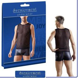 SVENJOYMENT Muscle Shirt Intimo Uomo Canotta Maglietta T-Shirt in Rete Fine Nera |2161168|