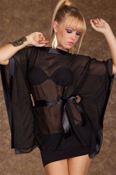 Set Maglia Camicia Trasparente Velata Nera Stile Kimono Con Cintura |W846095|