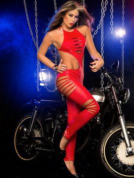 Tuta Jumpsuit WetLook PVC Aderente Nera o Rossa con Scollatura e Aperture Laterali con Tagli Laser-Cut |LC79789|