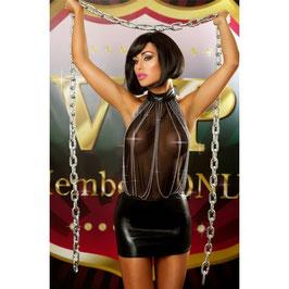LOLITTA Bestseller Dress Mini Abito WetLook Scollato Velato Nero con Catenelle in Metallo