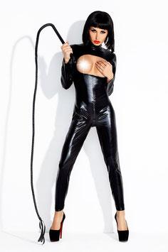 AMAZING GIRL Abito Catsuit Tuta Dominatrice PVC WetLook Nera con Cerniera Zip Aperta al Seno |AG-W7818|