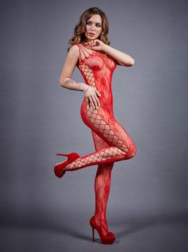 LE FRIVOLE Catsuit BodyStocking con Apertura al Pube Stringata Rossa con Inserti in Rete Larga e Disegno Floreale |04920|