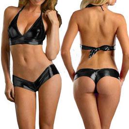 Costume Bikini 2 Pezzi Nero in PVC Vinile WetLook scollato a V  Top + Shorts Pants |P201058|