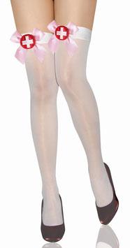 Calze Autoreggenti Velate Bianche da Infermiera con Fiocco Rosa e Distintivo Crocerossina |LC7809|