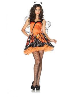 Sexy Costume Divisa Sexy Farfalla Vestito Vaporoso Arancione e Nero con Stampa Ali |LA-83817|