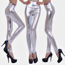 Leggings a Vita Alta ffetto WetLook Pvc Latex Style Metallico |LC79126|