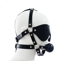 FETISH ART Morso Bavaglio Harness Full Head in Ecopelle con Morso e Benda Occhi |00904268|