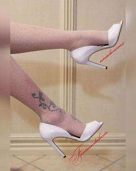 VIA STUDIO Decollete Spuntate Open Toe in Vernice Bianche Tacco Alto a Stiletto 11 cm Aperte ai Lati |VS-2164|